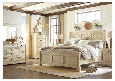 Bolanburg White King Panel Bed w/Dresser, Mirror, Drawer Chest & Nightstand