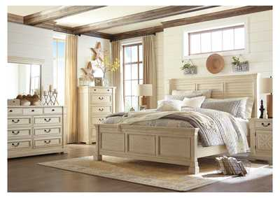 Bolanburg White California King Louvered Bed w/Dresser, Mirror & Drawer Chest