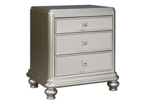 Coralayne Silver Three Drawer Nightstand