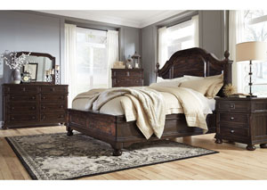 Gerlane Dark Brown California King Poster/Platform Bed w/Dresser & Mirror