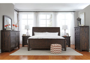 Trudell Golden Brown King Panel Bed w/Dresser, Mirror, Drawer Chest & Nightstand
