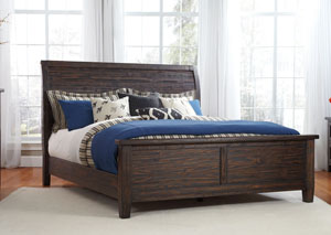 Trudell Golden Brown King Panel Bed