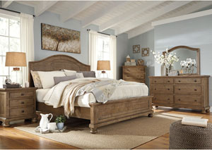 Trishley Light Brown Queen Panel Bed w/Dresser, Mirror and Drawer Chest