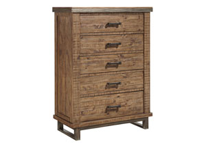 Dondie Warm Brown Five Drawer Chest