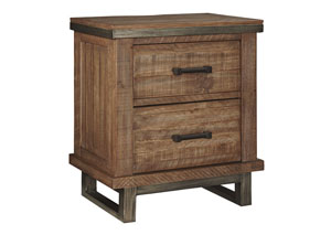 Dondie Warm Brown Two Drawer Nightstand