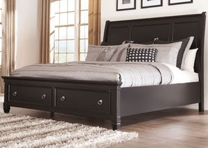 Greensburg California King Storage Sleigh Bed w/Dresser, Mirror, Drawer Chest & Nightstand