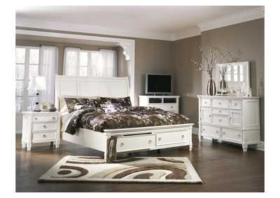 Prentice California King Storage Sleigh Bed w/Dresser, Mirror, Drawer Chest & Nightstand