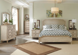 Demarlos Queen Upholstered Panel Bed w/Dresser, Mirror, Drawer Chest & Two Drawer Nightstand