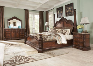 Ledelle California King Poster Bed w/Dresser, Mirror & Drawer Chest