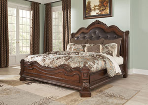 Ledelle Brown Queen Upholstered Sleigh Bed