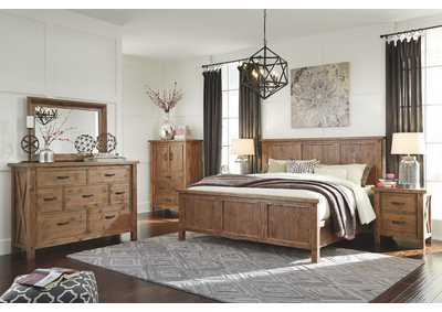 Tamilo Queen Panel Bed w/Dresser, Mirror and Door Chest