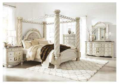 Cassimore Pearl Silver King Upholstered Canopy Bed w/Dresser, Mirror, Drawer Chest & Nightstand