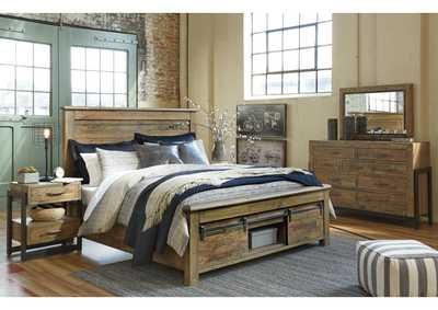 Sommerford Brown Queen Storage Bed w/Dresser, Mirror & Nightstand