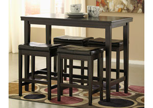 Kimonte Rectangular Counter Height Table w/ 4 Dark Brown Barstools