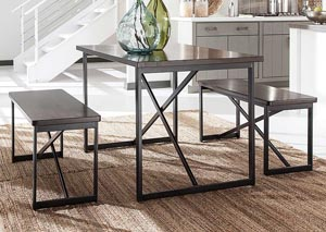 Joring Rectangular Dining Table w/ 2 Stools