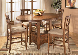 Cross Island Counter Height Extention Table Dining Set w/4 Stools