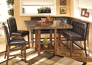 Lacey Square Counter Table w/ 2 Stools, 2 Double Stools and Corner Stool,Signature Design by Ashley