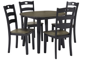 Froshburg Grayish Brown/Black Round Drop Leaf Table w/4 Side Chairs