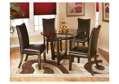 Charell Round Dining Table w/4 Brown Side Chairs