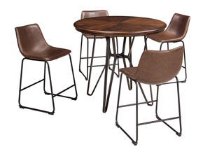 Centiar Two-Tone Brown Round Dining Room Counter Table w/4 Upholstered Barstools