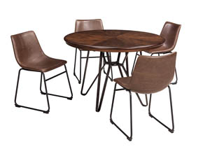 Centiar Two-Tone Brown Round Dining Room Table w/4 Upholstered Side Chairs