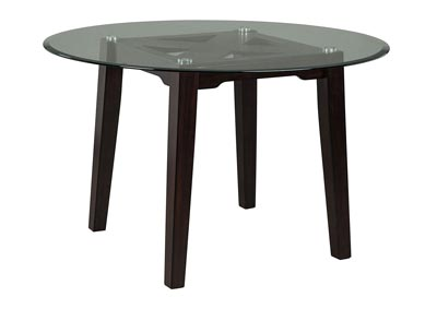 Chanceen Dark Brown Round Glass Top Table