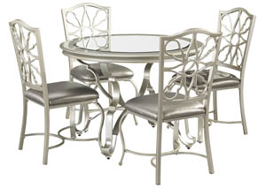 Shollyn Silver Round Dining Room Table w/4 Upholstered Side Chairs