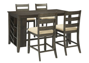 Rokane Brown Rectangular Counter Table w/Storage & 4 Upholstered Barstools