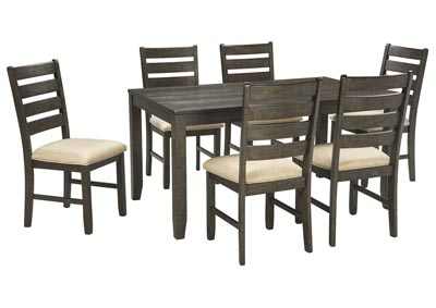 Rokane Brown 7-Piece Dining Room Table Set
