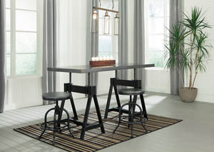 Minnona Aged Steel Rectangular DRM Adjustable Dining Table w/2 Swivel Stools