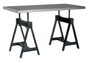 Minnona Aged Steel Rectangular Adjustable Height Dining Table