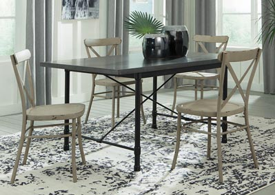 Minnona Aged Steel Rectangular Dining Table w/4 Antique White Side Chairs