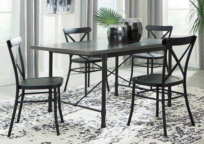 Minnona Aged Steel Rectangular Dining Table w/4 Black Side Chairs