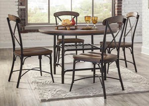 Rolena Brown Round Dining Room Table W/4 Side Chairs