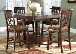 Leahlyn Counter Height Extension Table w/ 4 Barstools,Signature Design by Ashley