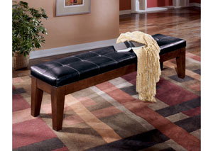 Larchmont Burnished Dark Brown Upholstered Dining Bench