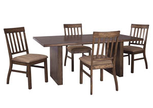 Zilmar Medium Brown Rectangular Dining Room Table w/4 Side Chairs