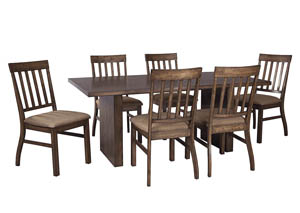 Zilmar Medium Brown Rectangular Dining Room Table w/6 Side Chairs