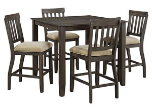 Dresbar Grayish Brown Square Dining Room Counter Table w/4 Upholstered Barstools