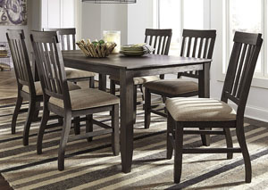Dresbar Grayish Brown Rectangular Dining Room Table w/6 Side Chairs