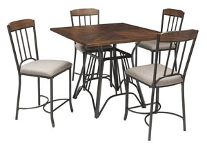 Zanilly Two-Tone Square Dining Room Counter Table w/4 Upholstered Barstools,Signature Design by Ashley