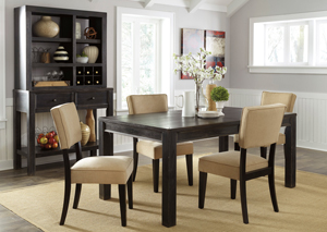 Gavelston Rectangular Dining Table w/4 Beige Side Chairs,Signature Design by Ashley