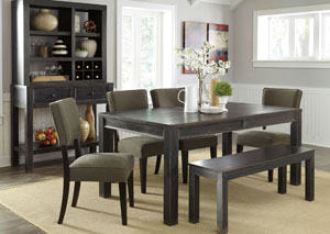 Gavelston Rectangular Dining Table w/4 Green Side Chairs & Bench,Signature Design by Ashley