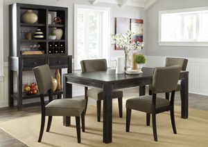 Gavelston Rectangular Dining Table w/4 Green Side Chairs,Signature Design by Ashley