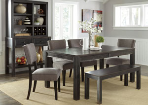 Gavelston Rectangular Dining Table w/4 Gray Side Chairs & Bench,Signature Design by Ashley