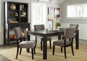 Gavelston Rectangular Dining Table w/4 Gray Side Chairs,Signature Design by Ashley
