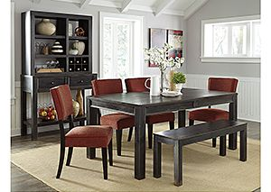 Gavelston Rectangular Dining Table w/4 Brick Side Chairs & Bench,Signature Design by Ashley