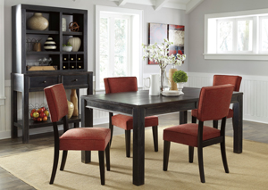 Gavelston Rectangular Dining Table w/4 Brick Side Chairs,Signature Design by Ashley