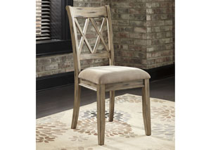 Mestler Antique White Upholstered Side Chair (Set of 2)