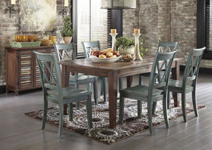Mestler Dark Brown Rectangular Dining Table w/ 4 Antique Blue Side Chairs